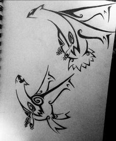 Latios and Latias tribal tattoo design by ReinsQueen on DeviantArt