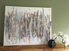 Excited to share the latest addition to my #etsy shop: Grey and copper abstract painting, original on canvas, wall art