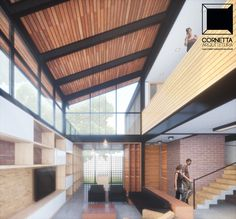 Perspectiva interna de nosso projeto em estrutura metálica, steel framing e madeira.