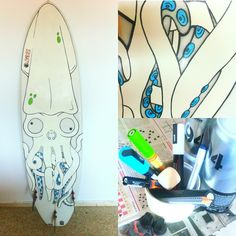 My surfboard finally finished! Pierced squid illustration made with posca, molotow and montana 94.