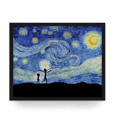 Rick and Morty in The Starry Night - Van Gogh/Rick and Morty Wall Art Poster and Canvas Print