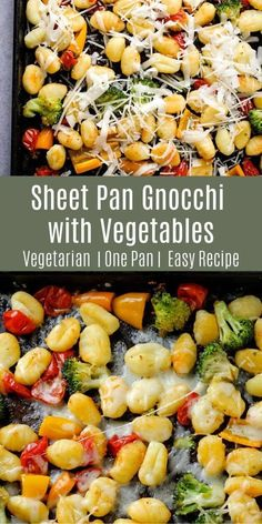 This sheet pan gnocchi with vegetables is a deliciously simple dinner idea! Everything cooks together on one sheet pan and you can add any additional vegetables you like! Clean Eating Recipes, Easy Dinner Recipes, Healthy Dinner Recipes, Real Food Recipes, Vegetarian Recipes, Easy Meals, Vegetarian Sandwiches, Healthy Eating, Icing Recipes