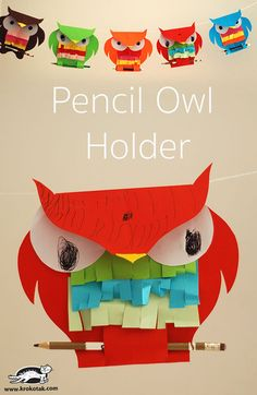 Pencil Owl Holder with Template