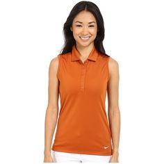 Nike Golf Victory Solid Sleeveless Polo (Desert Orange/White) Women's Sleeveless featuring polyvore, women's fashion, clothing, tops, white polo top, orange sleeveless top, orange top, polo top and sleeveless polo tops