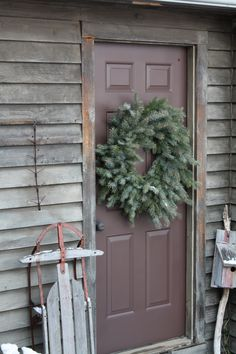 Christmas wreath on back door