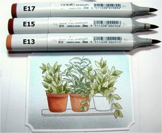 Copic coloring tutorial - plant leaves and terracotta pots