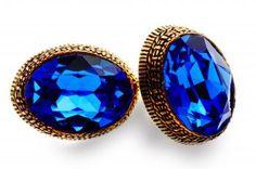 Striking Swarovski crystal, blue-coloured, in artistic setting of classic bronze.  www.mysshoes.com