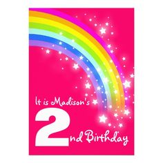 Shop Kids rainbow birthday pink birthday invite created by Mylittleeden. 1st Birthday Party Invitations, 3rd Birthday Parties, 15th Birthday, Pink Birthday, Rainbow Birthday, Rainbow Names, Kids Rainbow, Rainbow Sky, Invite