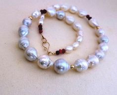 wild pearl necklace  ruby and 14K gold Organic by PhiniJewel, $131.00