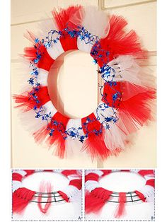 Stately Striped Wreath: Tufts of tulle are the secret behind this easy-to-make door decoration.