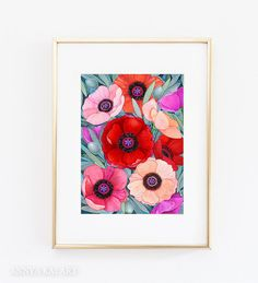 Poppy Flower Watercolor Painting  Red Floral Wall by AnnyaKaiArt