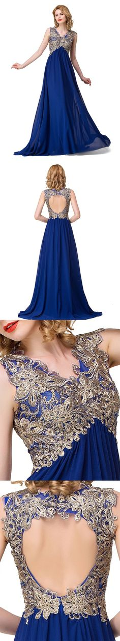 Royal Blue Chiffon Prom Dresses with Gold Lace Appliqued,Empire Long Prom Dresses,Cheap Pageant Dresses,Formal Dresses, Royal Blue Formal Dresses, Royal Blue Bridesmaid Dresses, Cheap Pageant Dresses, Prom Dresses 2018, Mermaid Prom Dresses Lace, Prom Dresses Long With Sleeves, Maroon Prom Dress, Gold Lace, Frocks