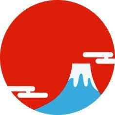 富士山と初日の出の丸型フレーム枠イラスト<赤>