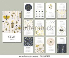 Calendar 2016. Templates with flowers, bugs and grasshoppers in a garden. Art…