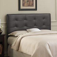 This beautifully hand-crafted headboard adds style to any bedroom. Thick durable leather will last for years and create a sophisticated landscape. With its pine wood frame and thick luxurious foam padding bedtime reading may last a little longer