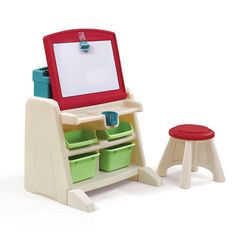 The Step2 Company's Flip and Doodle Desk With Stool Easel ($78) features an upright easel that can fold down into a desktop with a magnetic dry-erase board, trays for markers and pencils, and a cup holder. The set also comes with a matching stool and