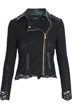 Morgan Biker-Look Jacket with Lace Top Layer