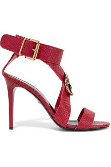 Just Cavalli Embellished snake-effect leather sandals | THE OUTNET
