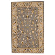 With a distinctive style, a gorgeous area rug from India will add some splendor to any decor. This area rug is hand-tufted with a floral pattern in shades of gray, gold, ivory, beige, brown, and green.