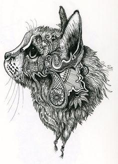 This is a zentangle cat I found or henna cat! Henna Patterns, Zentangle Patterns, Doodles Zentangles, Mandala Tattoo, Mandala Art, Doodle Art, Cat Doodle, Cat Art, Cool Tattoos
