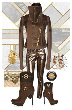 """""""Brown and Gold!"""" by flippintickledinc ❤ liked on Polyvore featuring RtA, Rick Owens, Ted Baker, Chanel, MICHAEL Michael Kors, Peter Thomas Roth and Lancôme"""