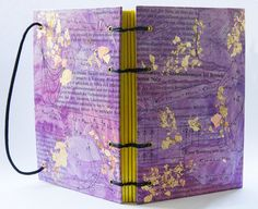 nerdy notebook - handbound book - coptic stitch -pastepaper with gold foil