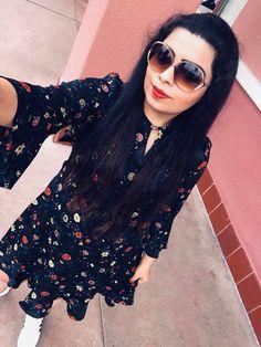 Target Fashion- Black Floral Ruffled Sleeves dress