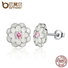 BAMOER 2017 Spring Collection 925 Sterling Silver White Flower Elegant Stud Earrings Women Wedding Luxury Jewelry PAS462