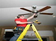 Simplest Ideas for Installing a Ceiling Fan with the ladder