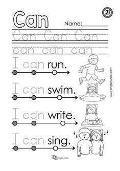 "Beginning Reading 21 – Can – English Unite Beginning reading – Can: Each worksheet focuses on one word, and once that word is learned, it is dotted out on all future worksheets. The focus word of this worksheet is the word ""can"". Learning English For Kids, English Lessons For Kids, Kids English, English Worksheets For Kindergarten, Reading Worksheets, Phonics Reading, Kindergarten Reading, The Words, Preschool Sight Words"