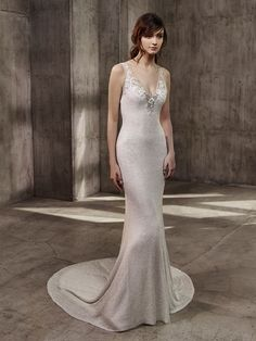 """""""Athena"""" V-Neck Beaded Gown by Badgley Mischka Bride 