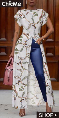 Mode Chain Print Short Sleeve Slit Irregular Blouse When Will The World Wake Up? Short African Dresses, Latest African Fashion Dresses, African Print Dresses, African Print Fashion, Ankara Dress Styles, Ankara Fashion, African Women Fashion, African Blouses, African Fashion Designers