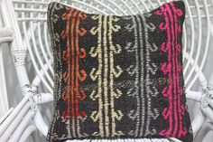 DESCRIPTION: 1- The pillow cover desinged and produced by me and it is unused. 2- Its size is 16 x 16, 40cm x 40cm 3- Made from vintage handwoven authentic Turkish Anatolian Kilims 4- Front side is made from a vintage hand-woven 100% Wool Turkish kilim rug 5- The backing is cotton fabric with hidden zipper. 6- Insert in not included. For demonstration only. Easy Payment Methods: I accept all major credit/debit cards over PAYPAL.You may pay with Paypal without setting up a Paypal accoun...