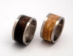 Owl Moon  Wooden Wedding Rings by MinterandRichterDes on Etsy, $500.00