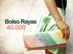 Bolso rayas colores pasteles con cadena $40.000