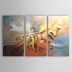 【今だけ☆送料無料】 アートパネル  抽象画3枚で1セット イエロー ブルー 淡い 天使【納期】お取り寄せ2~3週間前後で発送予定