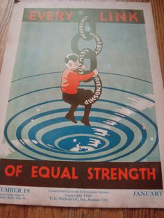 vintage character education poster  Every Link of Equal Strength. $45.00, via Etsy.