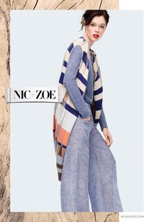 Coco Rocha poses in long vest, sweater and high-waist trousers from NIC + ZOE spring-summer 2016 collection