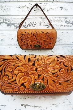 Genuine Leather Tooled Rustic Flower Print by simplymeaningful, $85.00