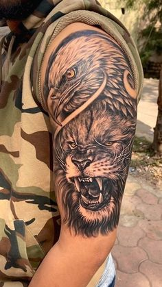 Lion Chest Tattoo, Lion Shoulder Tattoo, Lion Forearm Tattoos, Lion Head Tattoos, Mens Lion Tattoo, Eagle Tattoos, Eagle Tattoo Arm, Shoulder Tattoos For Men, Lion Back Tattoo