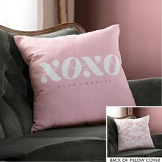 XOXO in Pink Personalized Throw Pillow Cover