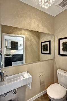 Photo Gallery Website Modern Powder Room with Wall Mounted Sink Custom Mirrors Chrome and Glass Spheres