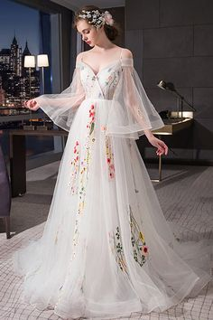 White off shoulder V neck prom dress with sleeves