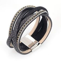 Wide magnetic bracelet with braided PU leather & metal chains magnetic bracelets women gifts   #bracelets #designerdivajewelry