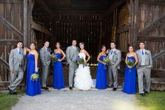 Sapphire blue bridesmaid dresses.  Boys in light khaki instead of grey?
