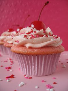 Cherry Chip Cupcakes with Cherry Vanilla Buttercream