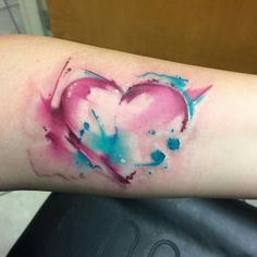 Watercolor heart tattoo by Mike Shultz.