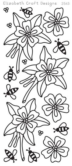 Elizabeth Craft Designs Peel-Off Sticker -2543B  Columbine  Black