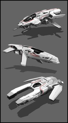 This image shows a detailed spaceship from different angles. The reason why I…