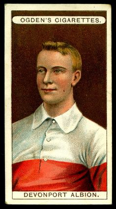 """Ogden's Cigarettes """"Football Club Colours"""" (series of 50 issued in Devonport Albion RUFC Football Stickers, Football Cards, Football Players, Baseball Cards, Southampton Football, Bristol Rovers, British Football, Association Football, Most Popular Sports"""